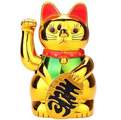 Un Gato De Oro Japon/és Tou Maneki Neko Con Tarjeta De Felicidad Y Soporte Gifts Of The Orient GOTO/®